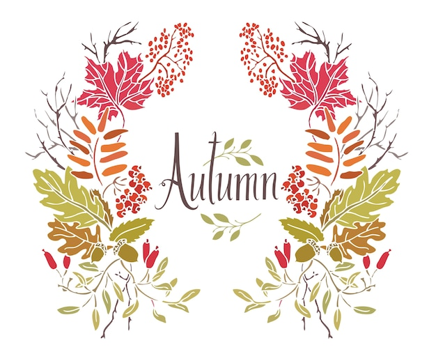 Marco de otoño de hojas y ramitas