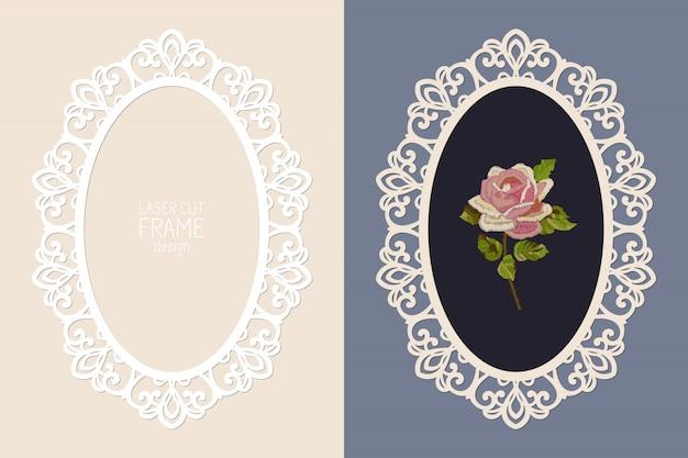 Marco ovalado de encaje cortado con láser, plantilla. marco de fotos recorte ornamental