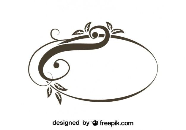 Marco ovalado floral asimétrico