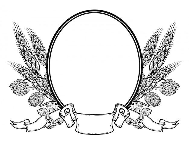 Marco ovalado con lúpulo dibujado a mano y trigo. plantilla de emblema de cerveza