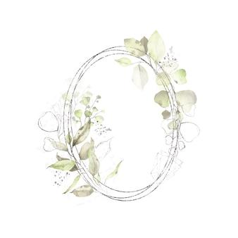 Marco ovalado redondo geométrico plateado acuarela con hojas verdes