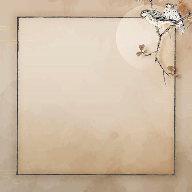 Marco de pájaro cuadrado en blanco