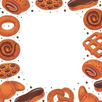 Marco de panadería. boulangerie pretzel donut croissant bagel roll eclair waffle cookies acuarela comida