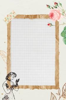 Marco de papel marrón arrugado con fondo de cuadrícula