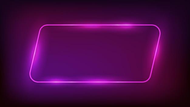 Marco de paralelogramo redondeado de neón con efectos brillantes sobre fondo oscuro. telón de fondo de techno que brilla intensamente vacío. ilustración vectorial.