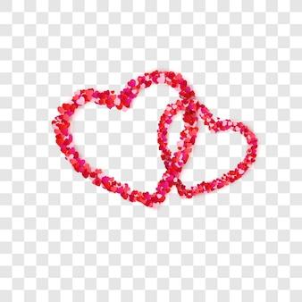 Marco de pareja de corazón de confeti de corazones de papel