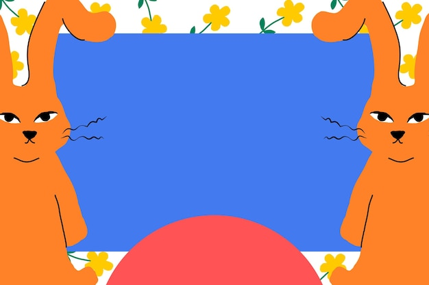 Marco de pascua con conejitos naranjas ilustración de animal lindo y colorido