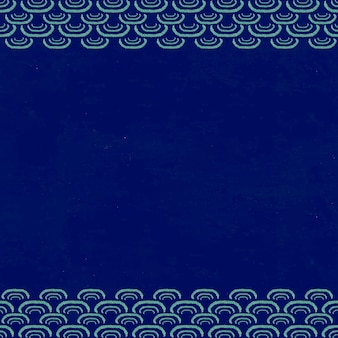 Marco de patrón de onda japonés azul oscuro, remezcla de la obra de arte de watanabe seitei