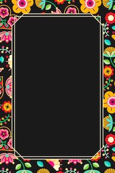 Marco de patrón popular de flores sobre fondo negro