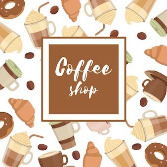 Marco de patrón de tazas de café
