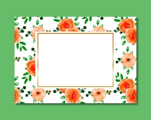 Marco con patrón transparente acuarela floral naranja