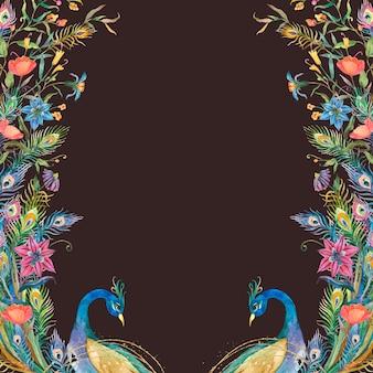 Marco de pavos reales con flores de acuarela sobre fondo negro