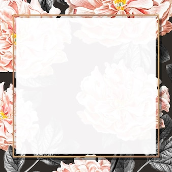 Marco de peonía floral dorado