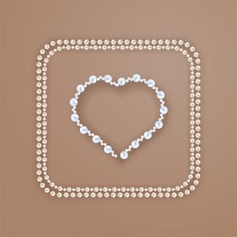 Marco de perlas en forma de corazón en biege