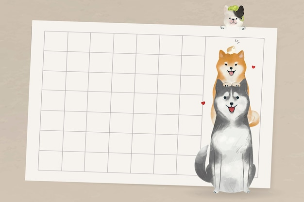Marco de perro con animales sobre fondo de cuadrícula