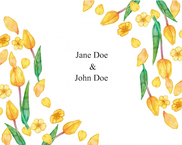 Marco de pétalos de flores amarillas de verano ilustración acuarela