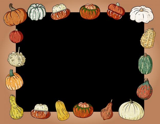 Marco de pizarra acogedor otoño lindo con calabazas