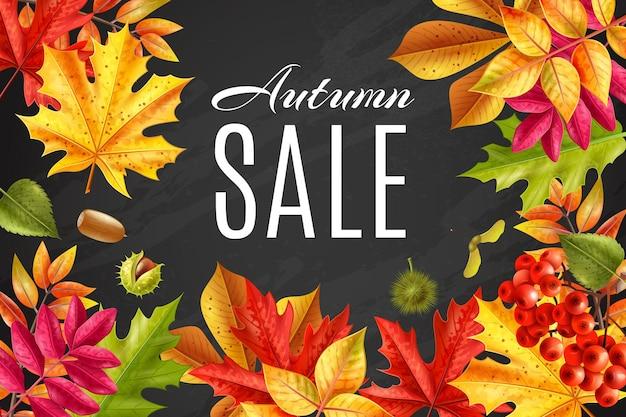 Marco de pizarra de venta de otoño realista rodeado de hojas descoloridas ilustración