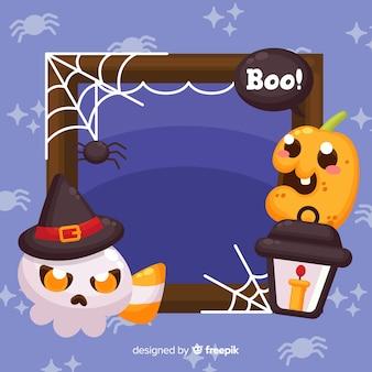 Marco plano de halloween con niño fantasma y calabaza