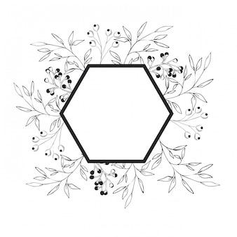 Marco con plantas y hierbas icono aislado