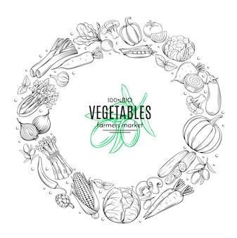 Marco de plantilla de cartel con vegetales dibujados a mano