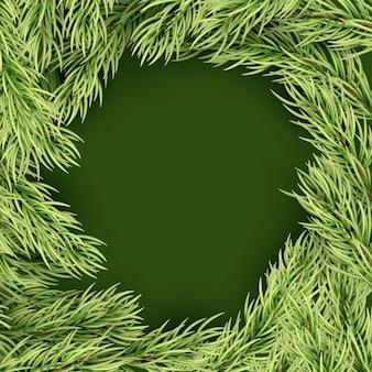 Marco de plantilla de feliz navidad de ramas de abeto.