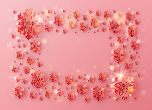 Marco de plantilla de saludo de feliz navidad y feliz año nuevo con copos de nieve de papel para carteles de vacaciones, pancartas, pancartas, folletos y folletos.