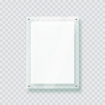Marco de plástico de placa de vidrio acrílico para póster de foto 3d maqueta realista aislado colgado en la pared