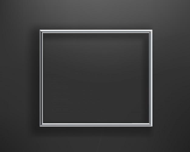 Marco de plata brillante en la pared negra. ilustracion vectorial composición horizontal