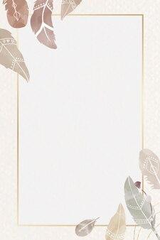 Marco de plumas de acuarela vector estilo bohemio
