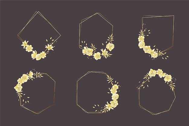 Marco poligonal dorado con elegante paquete de flores.