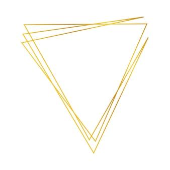 Marco poligonal geométrico dorado con efectos brillantes aislado sobre fondo blanco. telón de fondo art deco que brilla intensamente vacío. ilustración vectorial.