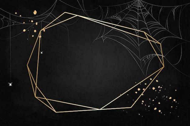 Marco de polígono de oro sobre fondo negro de tela de araña
