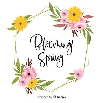 Marco de primavera floreciente con diseño floral