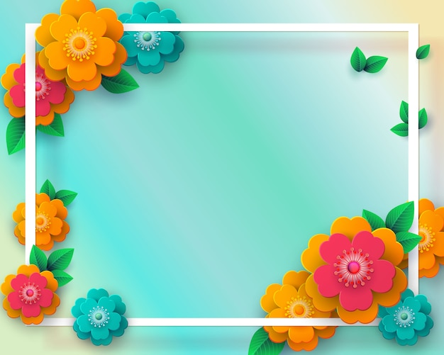 Marco de primavera con papel cortado flores y hojas. fondo geométrico colorido brillante.