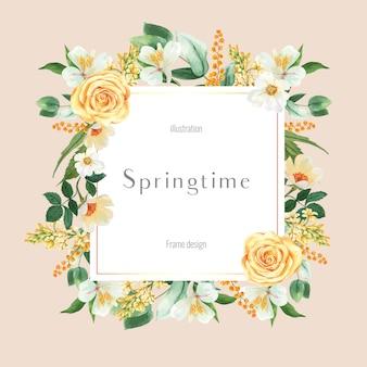 Marco de primavera de publicidad de flores frescas, promover, tarjeta de decoración con jardín colorido floral, boda, invitación