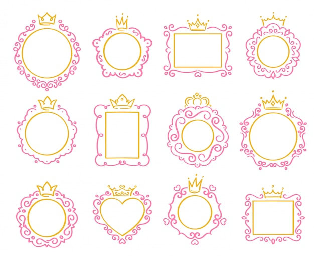 Marco princesa lindo borde de corona, marcos de espejo real y majestuoso conjunto de bordes de príncipe garabato