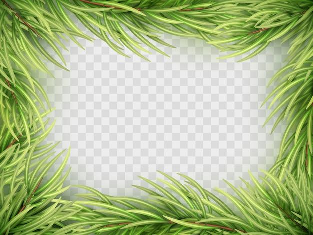 Marco de rama de abeto de árbol de navidad para decorar, sobre fondo transparente. y también incluye