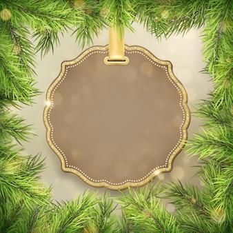 Marco de ramas de árbol de navidad con etiqueta, decoración de marco de etiqueta para promoción de compras de venta de vacaciones de año nuevo.
