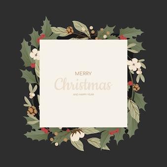 Marco con ramas de árbol de navidad realistas, conos de abeto, muérdago y acebo, ilex.