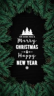Marco de ramas de árbol de navidad