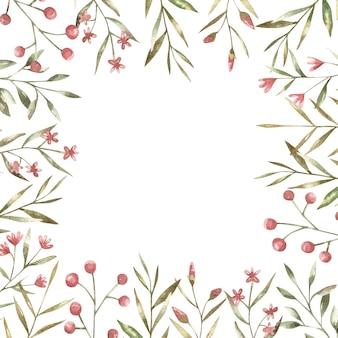 Marco con ramas con flores rojas y rosadas y hojas verdes ilustración botánica para imprimir