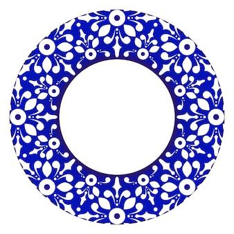 Marco real decorativo ornamento floral circular borde estilo victoriano maceta mandala azul y blanco