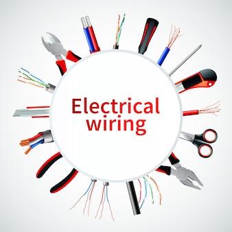 Marco realista de cables eléctricos
