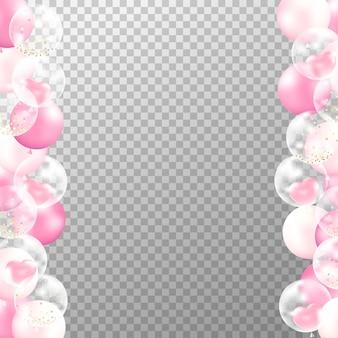 Marco realista de globos de color rosa sobre fondo transparente.