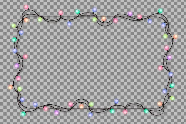 Marco realista con luces de navidad