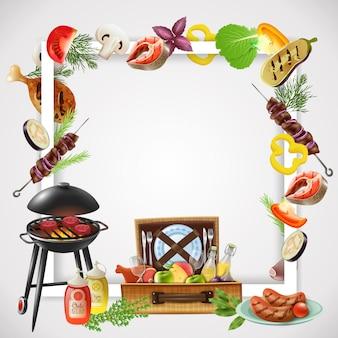 Marco realista con parrilla diferentes platos de barbacoa verduras y bebidas para picnic