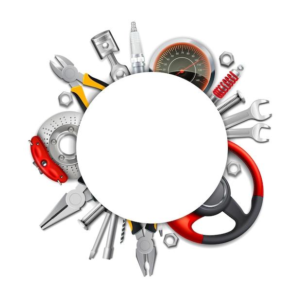 Marco realista de piezas de coche con herramientas.