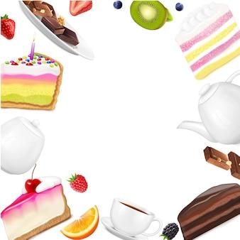 Marco realista con trozos de pastel, bayas frescas, rodajas de frutas, taza de chocolate, tetera y azucarero
