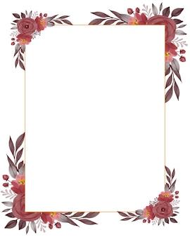 Marco rectangular con borde de ramo de rosas rojas